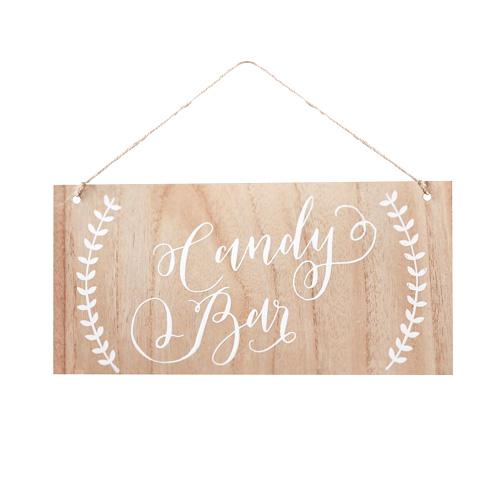Candy Bar Skilt i Tre - Boho