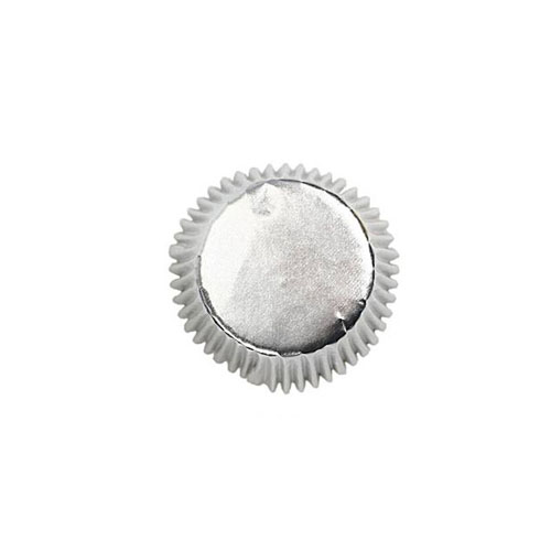 Foliert Cupcakeform Sølv Mini 75stk