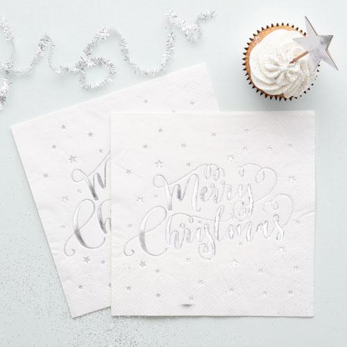Merry Christmas Servietter Sølv
