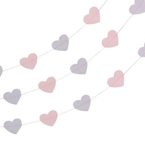 Rosa og Sølv Hjerte Vimpelrekke