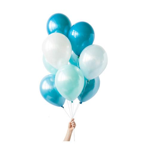 Ballongbukett Hvit blå og Grønn