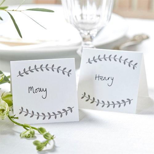 Bordkort Hvit