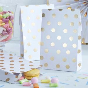 Papirposer med Gullfoliert Polka Dots