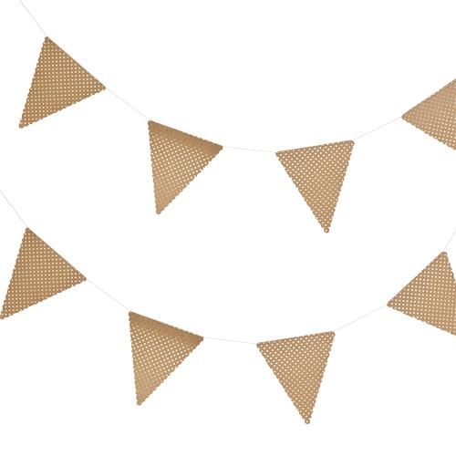 Vimpelrekke Brown Kraft med Gull prikker