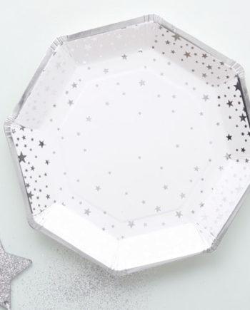 Papptallerken Stjerne Sølv