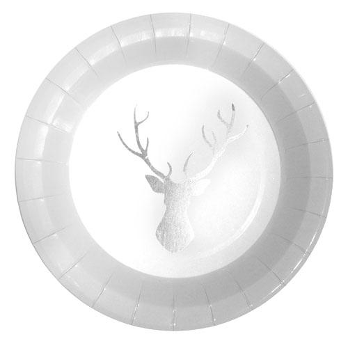 Papptallerken Sølv Reinsdyr
