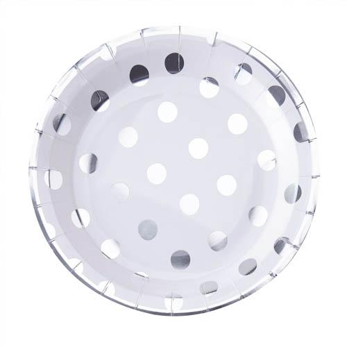 Papptallerken Polka Dot Sølv