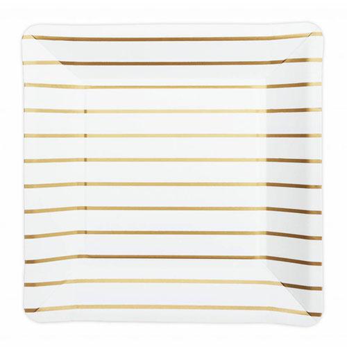 Papptallerker med Gull striper