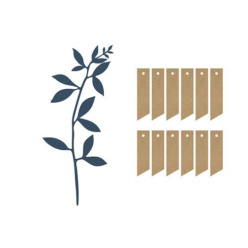 Dekorblader med tag Blå