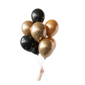 Ballongbukett Sort og Gull