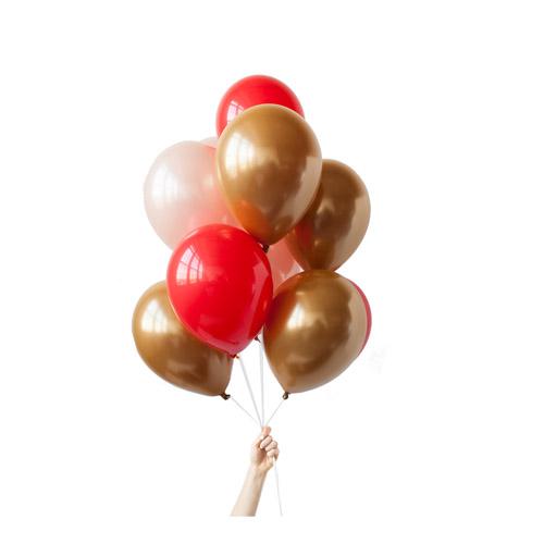 Ballongbukett Gull Rosa og Rødt