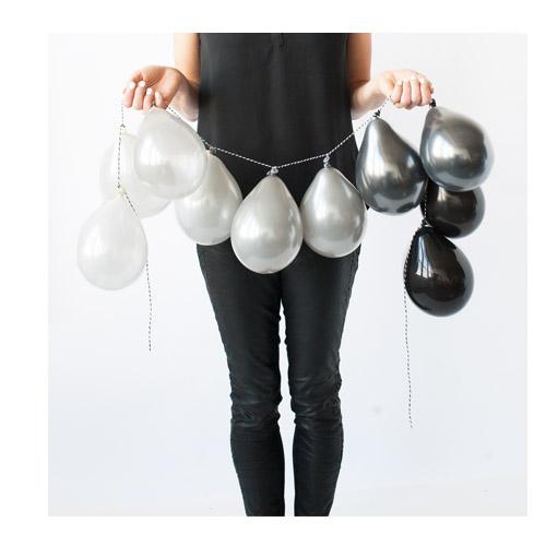 Ballongrekke hvitt sølv og Sort