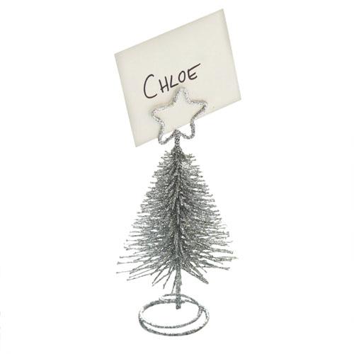 Juletre bordkortholder Sølv