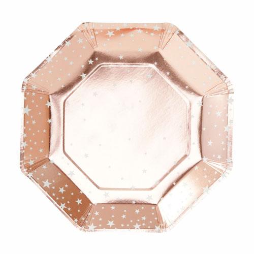 Papptallerken Stjerne Rose Gold