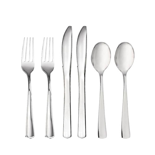 Premium Plastikbestikk Sølv