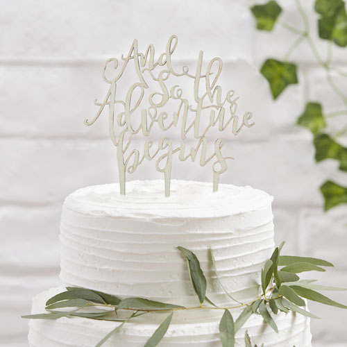 BB-329 Wooden And So The Adventure Begins Cake Topper Honeyoak