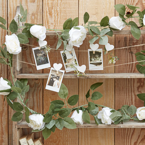 CW-203 White Floral Garland Honeyoak