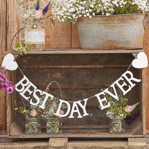 CW-221 White Wooden Best Day Ever Bunting Honeyoak