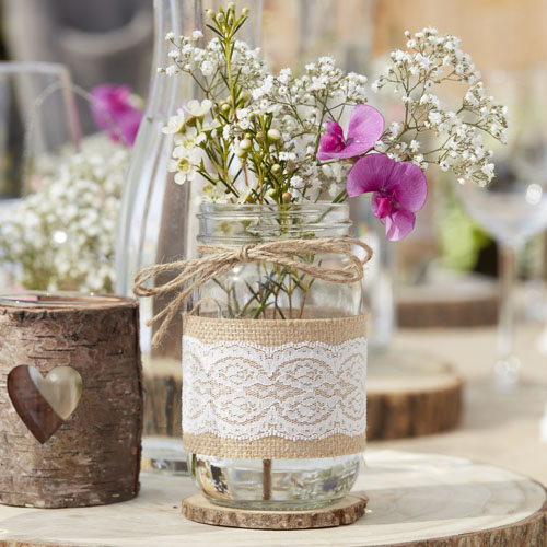 CW-229 Hessian & Lace Glass Jars Honeyoak