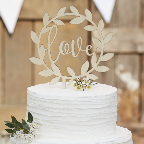 CW-234 Wooden Love Cake Topper V2 Honeyoak