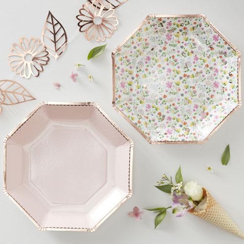 DF-801 Ditsy Floral & Blush Plates Honeyoak