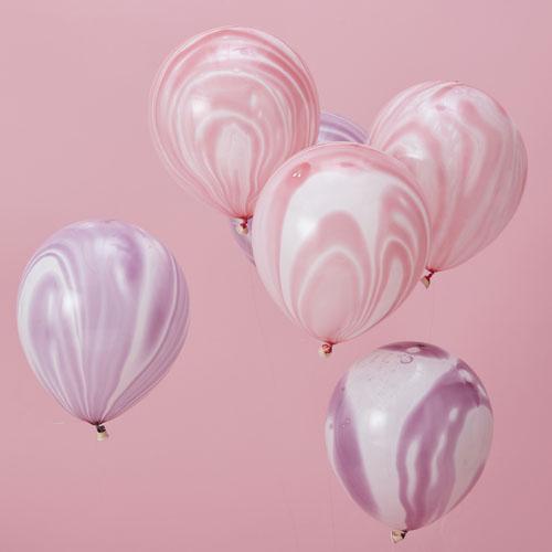 Rosa og Lilla Marmor Ballonger