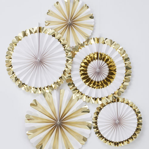 OB-111 White and Gold Fan Decorations Honeyoak