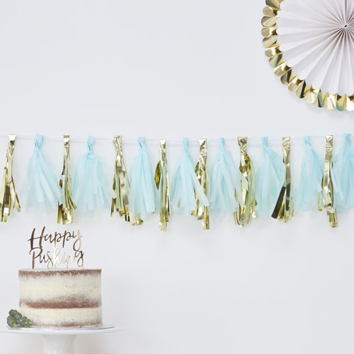 OB-118 Blue and Gold Tassel Garland Honeyoak