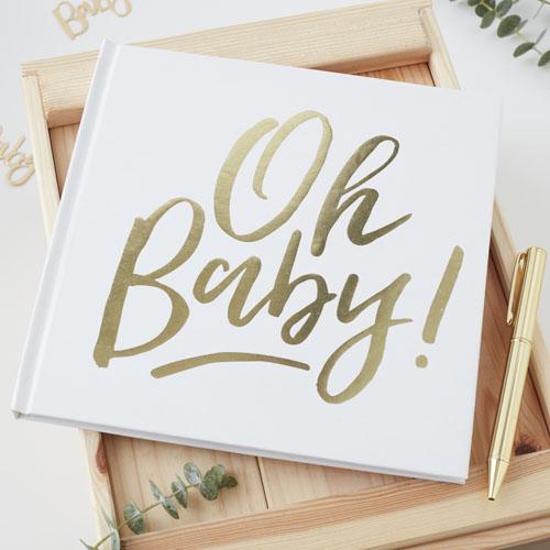OB-128 Oh Baby Guestbook Honeyoak