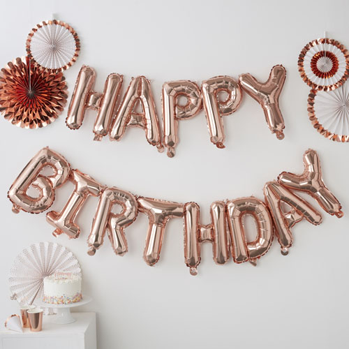 PM-333 Happy Birthday Rose Gold Balloon Bunting Honeyoak