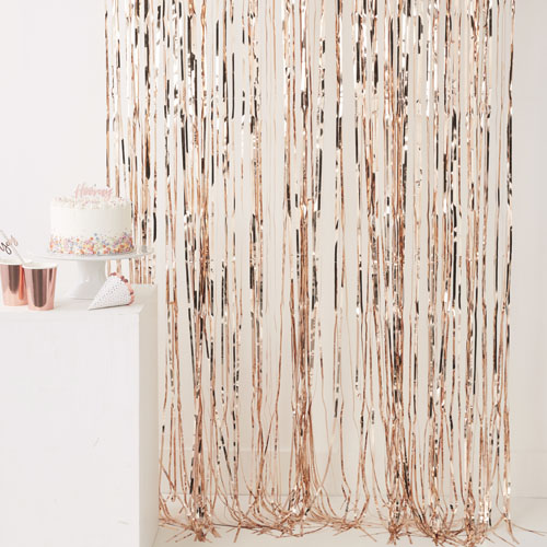 PM-360 Rose Gold Fringe Curtain Honeyoak