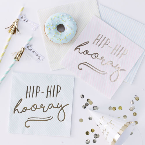 PM-400 Pastel Hip Hip hooray Napkins Honeyoak