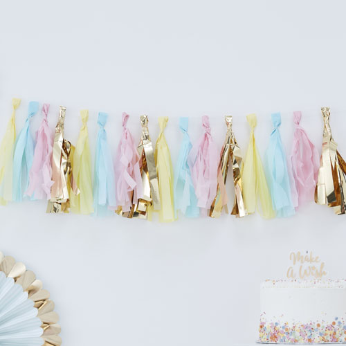 PM-407 Pastel & Gold Tassel Garland Honeyoak