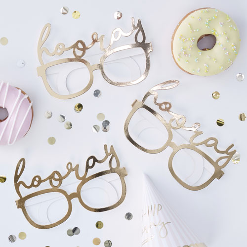 PM-417 Hooray Gold Fun Glasses Honeyoak