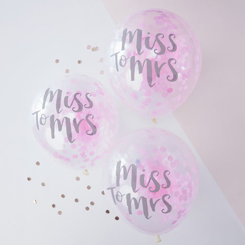 TB-627 Miss To Mrs Pink Confetti Balloons Honeyoak