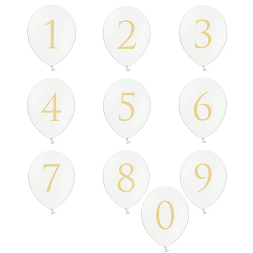Hvite Ballonger med tall
