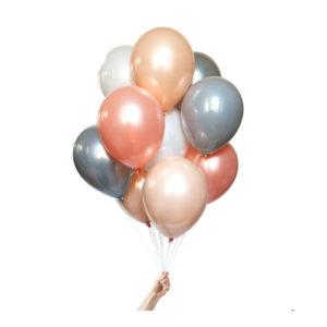 Ballongbukett Peach, Hvit og Grå