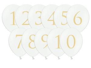 Hvite ballonger med tall i gull
