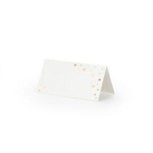Hvite bordkort med gullstjerner