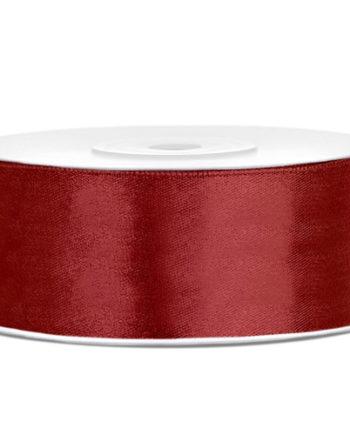 Dyp Rød Sateng Dekorbånd 25mm