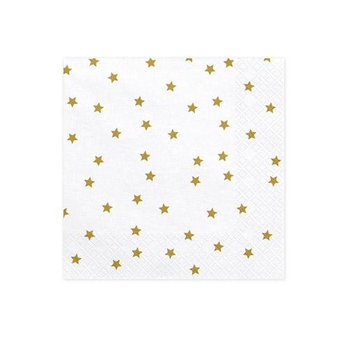 Hvite servietter med gullstjerner