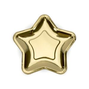 Gullfoliert stjernetallerken 23 cm