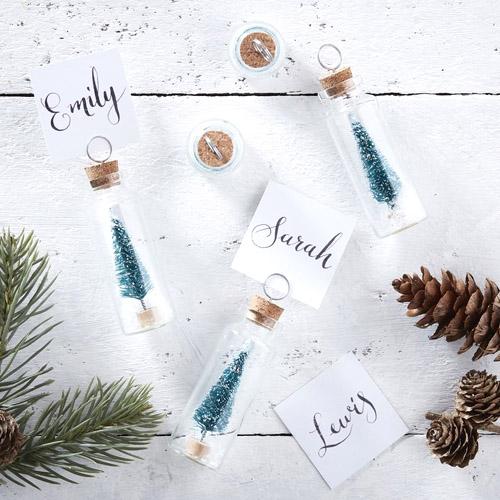 Juletre i glass bordkortholder