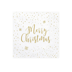 Hvite Servietter Merry Christmas