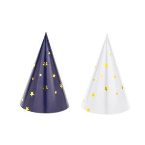 Små Marineblå og hvite Partyhatter