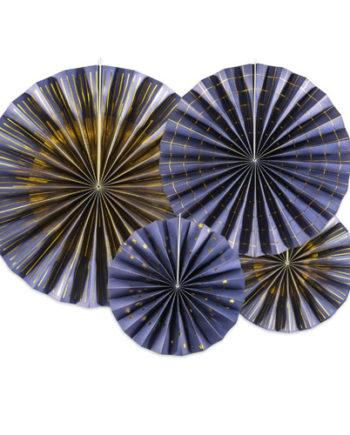 Marineblå rosetter med gulldetaljer