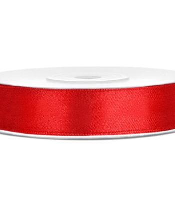 Rødt Sateng Dekorbånd 12mm