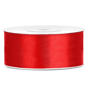 Rødt Sateng Dekorbånd 25mm