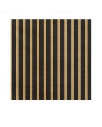 Sorte servietter med Gullstriper