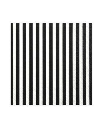 Sort og Hvit Stripete Servietter